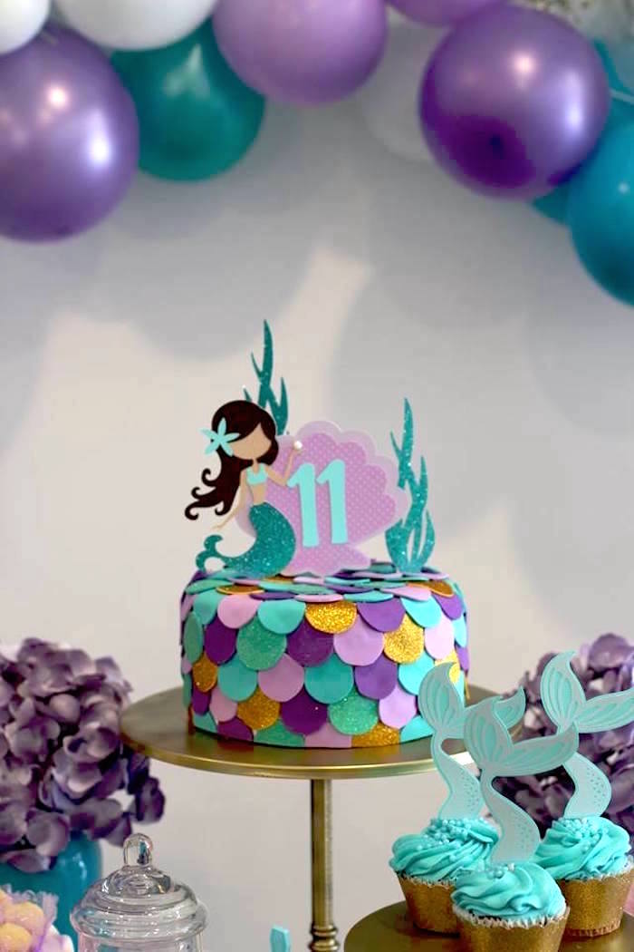 Mermaid Cake from a Mystical Mermaid Party on Kara's Party Ideas | KarasPartyIdeas.com (16)