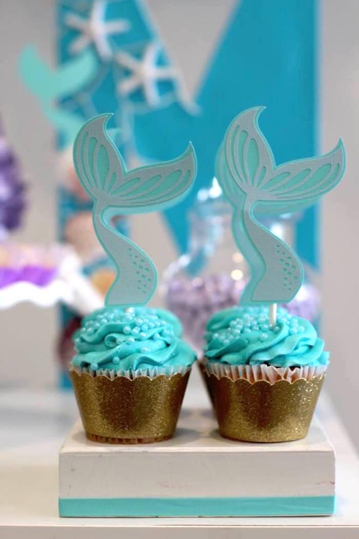 Mermaid Tail Cupcakes from a Mystical Mermaid Party on Kara's Party Ideas | KarasPartyIdeas.com (13)