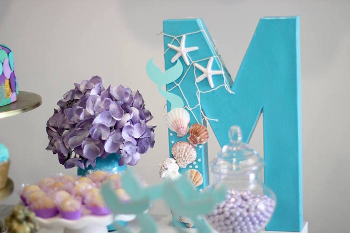 Under the Sea Mermaid Block Letter from a Mystical Mermaid Party on Kara's Party Ideas | KarasPartyIdeas.com (11)