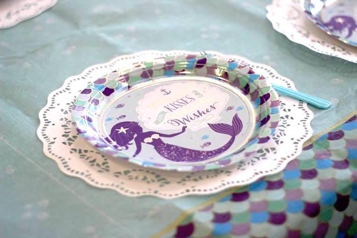 Mermaid Table Setting from a Mystical Mermaid Party on Kara's Party Ideas | KarasPartyIdeas.com (10)