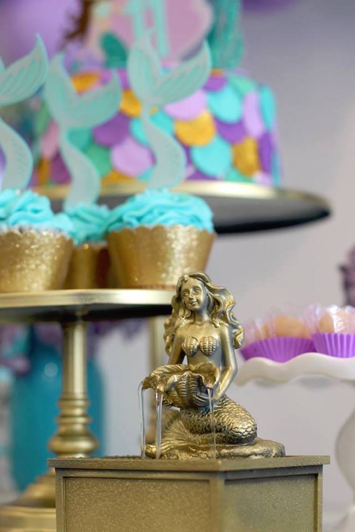 Mermaid Fountain from a Mystical Mermaid Party on Kara's Party Ideas | KarasPartyIdeas.com (9)