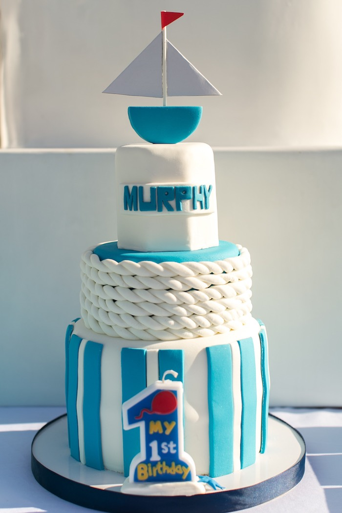 Nautical Cake from a Nautical Yacht Birthday Party on Kara's Party Ideas | KarasPartyIdeas.com (16)