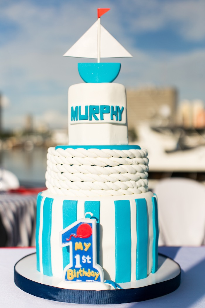 Nautical Cake from a Nautical Yacht Birthday Party on Kara's Party Ideas | KarasPartyIdeas.com (14)