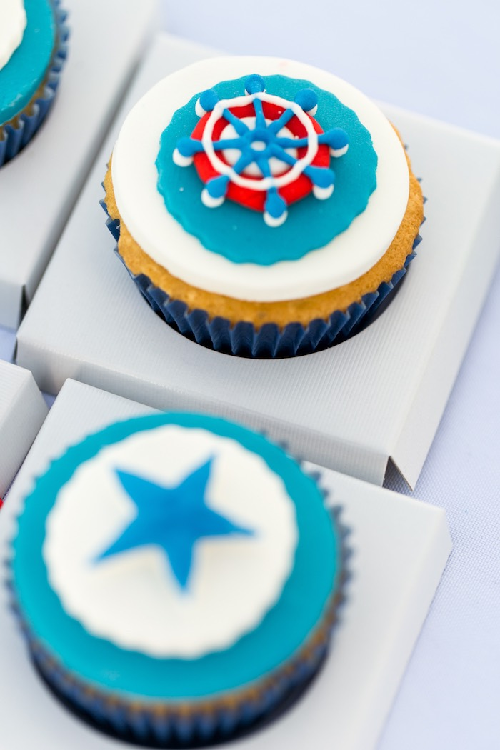 Nautical Cupcakes from a Nautical Yacht Birthday Party on Kara's Party Ideas | KarasPartyIdeas.com (13)