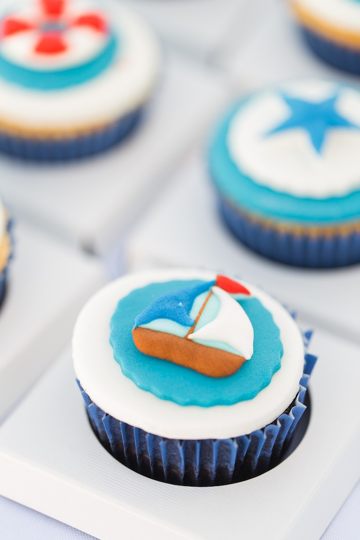 Boat Cupcake from a Nautical Yacht Birthday Party on Kara's Party Ideas | KarasPartyIdeas.com (11)