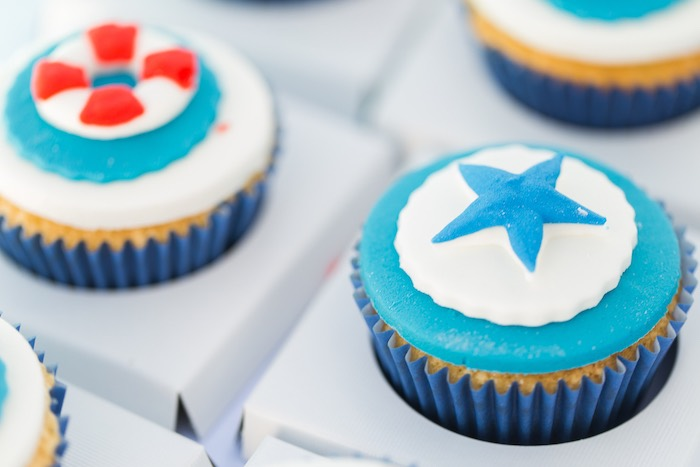 Nautical Cupcakes from a Nautical Yacht Birthday Party on Kara's Party Ideas | KarasPartyIdeas.com (10)