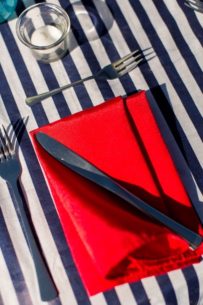 Red Napkin + Blue Striped Linen from a Nautical Yacht Birthday Party on Kara's Party Ideas | KarasPartyIdeas.com (23)