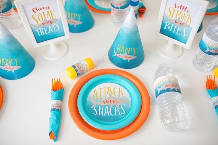 Shark-inspired Table Setting from an Ombre Watercolor Shark Birthday Party on Kara's Party Ideas | KarasPartyIdeas.com (19)