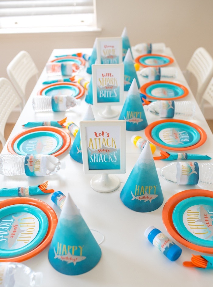 Shark Party Guest Table from an Ombre Watercolor Shark Birthday Party on Kara's Party Ideas | KarasPartyIdeas.com (17)