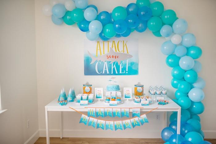 Ombre Watercolor Shark Birthday Party on Kara's Party Ideas | KarasPartyIdeas.com (8)