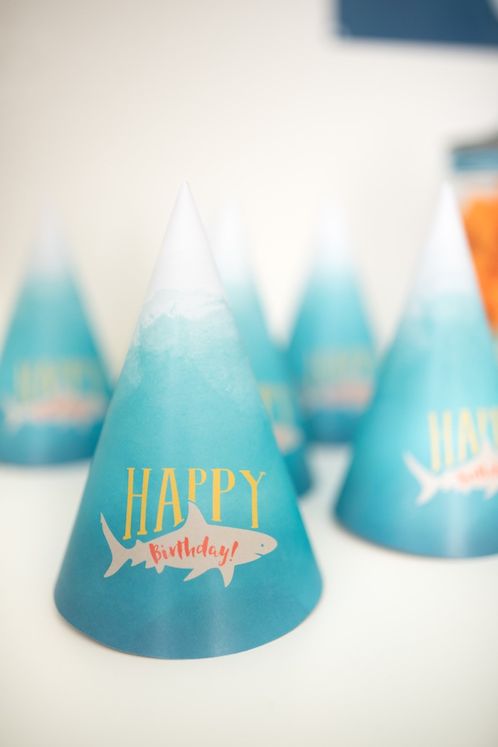 Shark Party Hat from an Ombre Watercolor Shark Birthday Party on Kara's Party Ideas | KarasPartyIdeas.com (7)