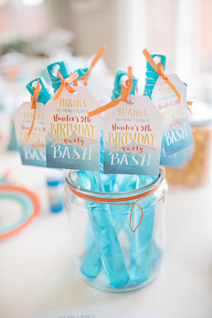 Bubble Favor Tubes from an Ombre Watercolor Shark Birthday Party on Kara's Party Ideas | KarasPartyIdeas.com (5)