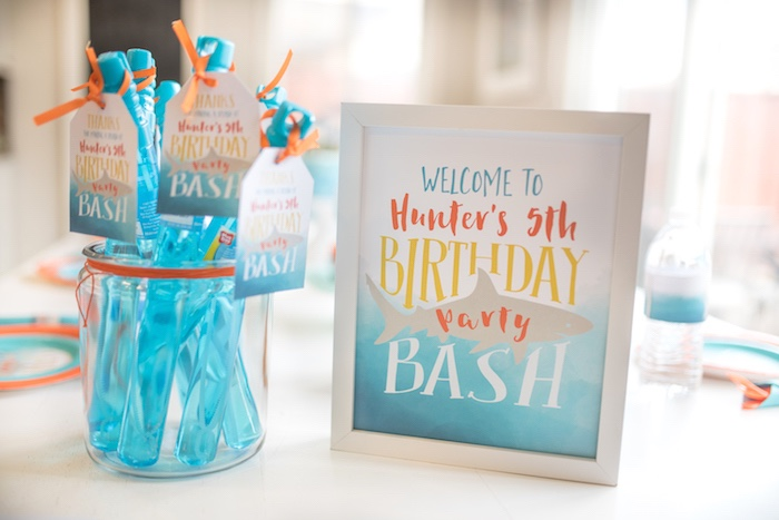 Shark Welcome Print from an Ombre Watercolor Shark Birthday Party on Kara's Party Ideas | KarasPartyIdeas.com (4)