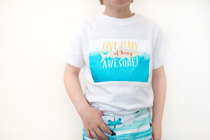 Customized Shark Birthday Shirt from an Ombre Watercolor Shark Birthday Party on Kara's Party Ideas | KarasPartyIdeas.com (28)