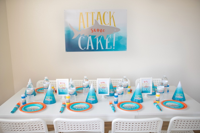 Shark Party Guest Table from an Ombre Watercolor Shark Birthday Party on Kara's Party Ideas | KarasPartyIdeas.com (27)
