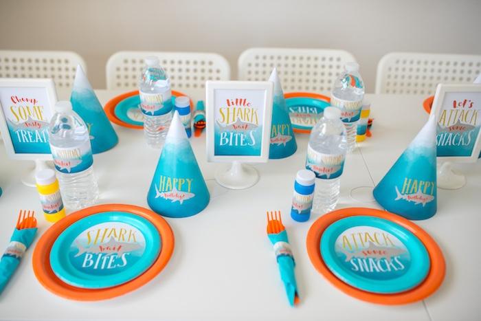 Shark Party Table Settings from an Ombre Watercolor Shark Birthday Party on Kara's Party Ideas | KarasPartyIdeas.com (26)