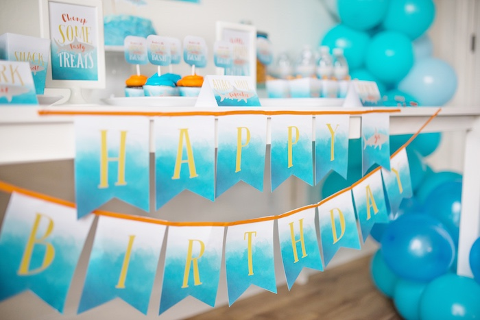 Water-inspired Happy Birthday Banner from an Ombre Watercolor Shark Birthday Party on Kara's Party Ideas | KarasPartyIdeas.com (25)