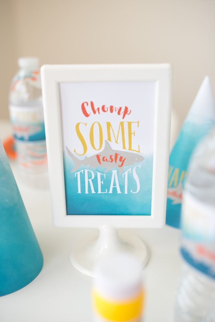Shark Party Print + Signage from an Ombre Watercolor Shark Birthday Party on Kara's Party Ideas | KarasPartyIdeas.com (23)