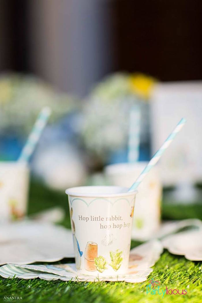Paper Peter Rabbit Cup from a Peter Rabbit Birthday Party on Kara's Party Ideas | KarasPartyIdeas.com (19)