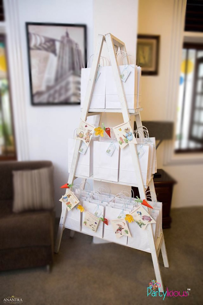 Favor Ladder from a Peter Rabbit Birthday Party on Kara's Party Ideas | KarasPartyIdeas.com (18)