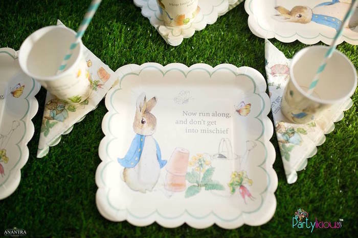 Peter Rabbit Place Setting from a Peter Rabbit Birthday Party on Kara's Party Ideas | KarasPartyIdeas.com (15)