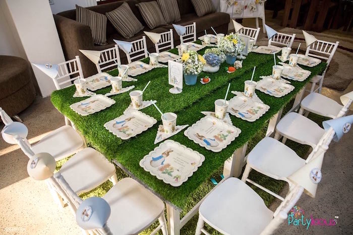 Peter Rabbit Garden Guest Table from a Peter Rabbit Birthday Party on Kara's Party Ideas | KarasPartyIdeas.com (13)