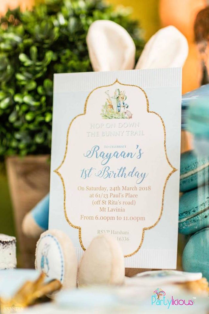 Peter Rabbit Party Invitation from a Peter Rabbit Birthday Party on Kara's Party Ideas | KarasPartyIdeas.com (12)