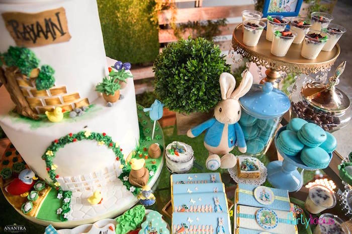 Peter Rabbit-inspired Dessert Table from a Peter Rabbit Birthday Party on Kara's Party Ideas | KarasPartyIdeas.com (10)