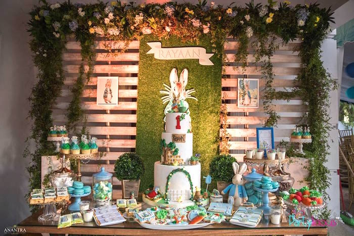 Peter Rabbit Dessert Table from a Peter Rabbit Birthday Party on Kara's Party Ideas | KarasPartyIdeas.com (28)