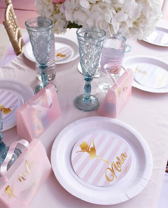 Glam Ballerina Table Setting from a Pink Ballerina Birthday Party on Kara's Party Ideas | KarasPartyIdeas.com (14)