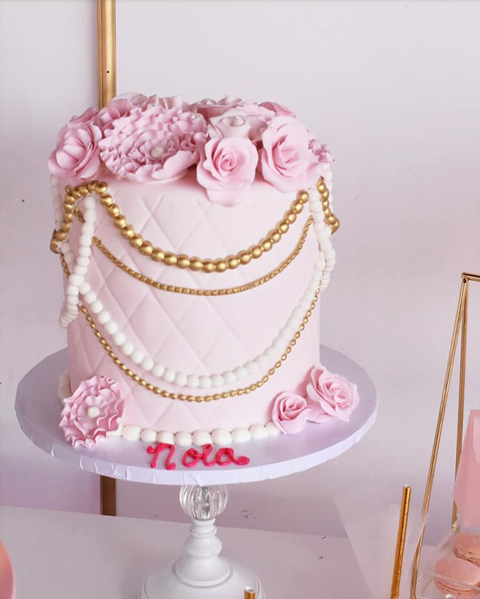 Elegant Pink Floral Cake from a Pink Ballerina Birthday Party on Kara's Party Ideas | KarasPartyIdeas.com (13)