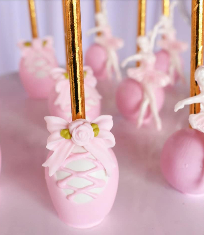 Ballet Slipper Cake Pops from a Pink Ballerina Birthday Party on Kara's Party Ideas | KarasPartyIdeas.com (12)