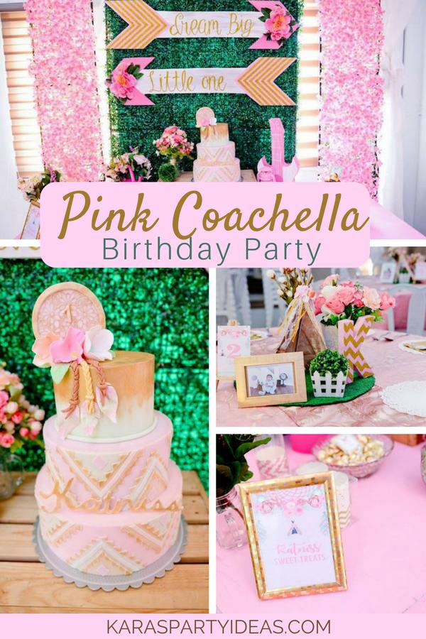 Pink Coachella Birthday Party via KarasPartyIdeas - KarasPartyIdeas.com