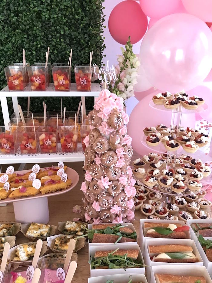 Mini Doughnut Meringue Tower from a Pink & Rose Gold Birthday Party on Kara's Party Ideas | KarasPartyIdeas.com (24)