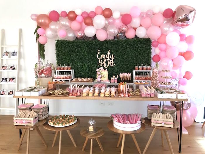 Pink Dessert Table from a Pink & Rose Gold Birthday Party on Kara's Party Ideas | KarasPartyIdeas.com (16)