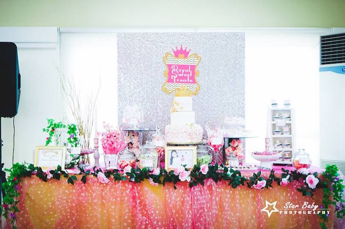 Dessert Table from a Pink and Gold Princess Party on Kara's Party Ideas | KarasPartyIdeas.com (15)
