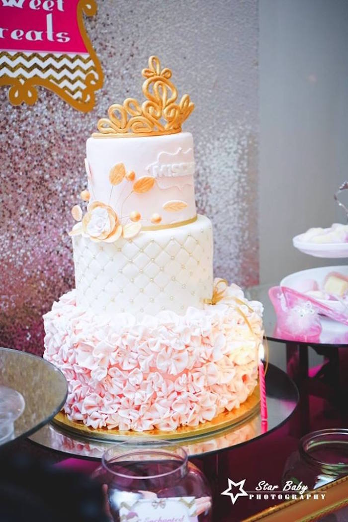 Royal Ruffle Cake from a Pink and Gold Princess Party on Kara's Party Ideas | KarasPartyIdeas.com (14)