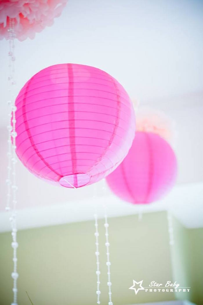 Paper Lantern & Bead Bunting from a Pink and Gold Princess Party on Kara's Party Ideas | KarasPartyIdeas.com (12)