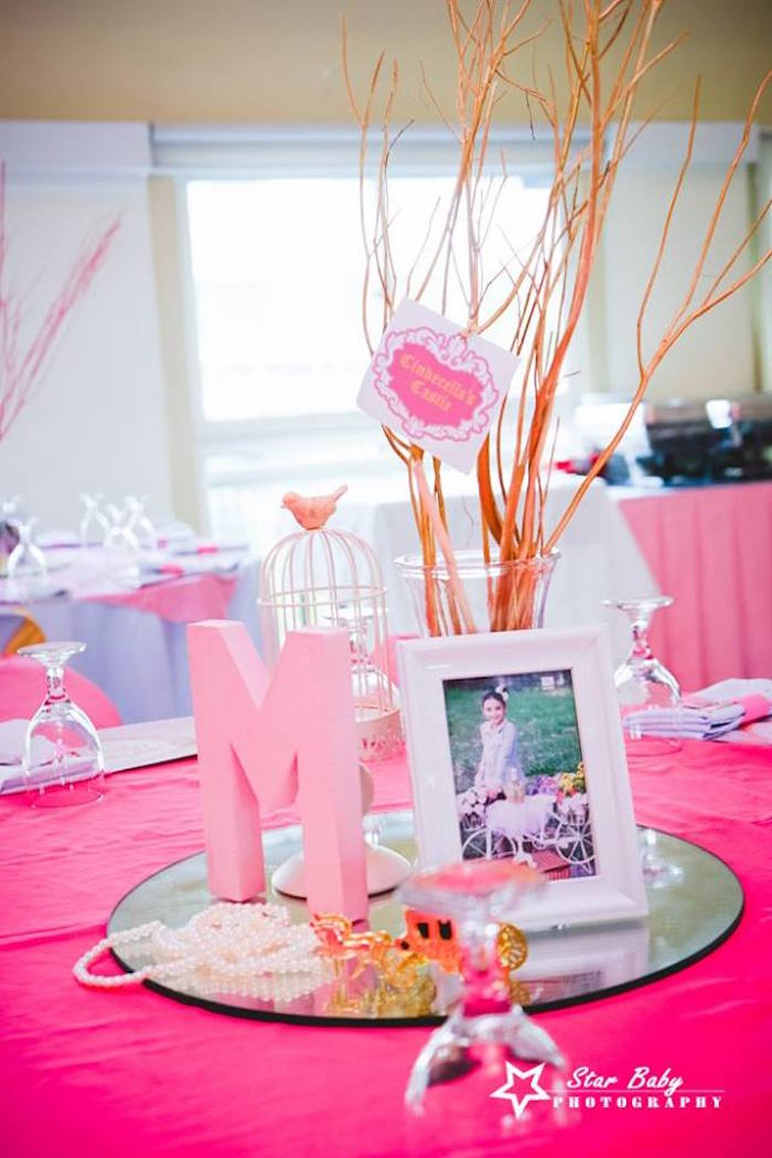Table Centerpiece from a Pink and Gold Princess Party on Kara's Party Ideas | KarasPartyIdeas.com (10)