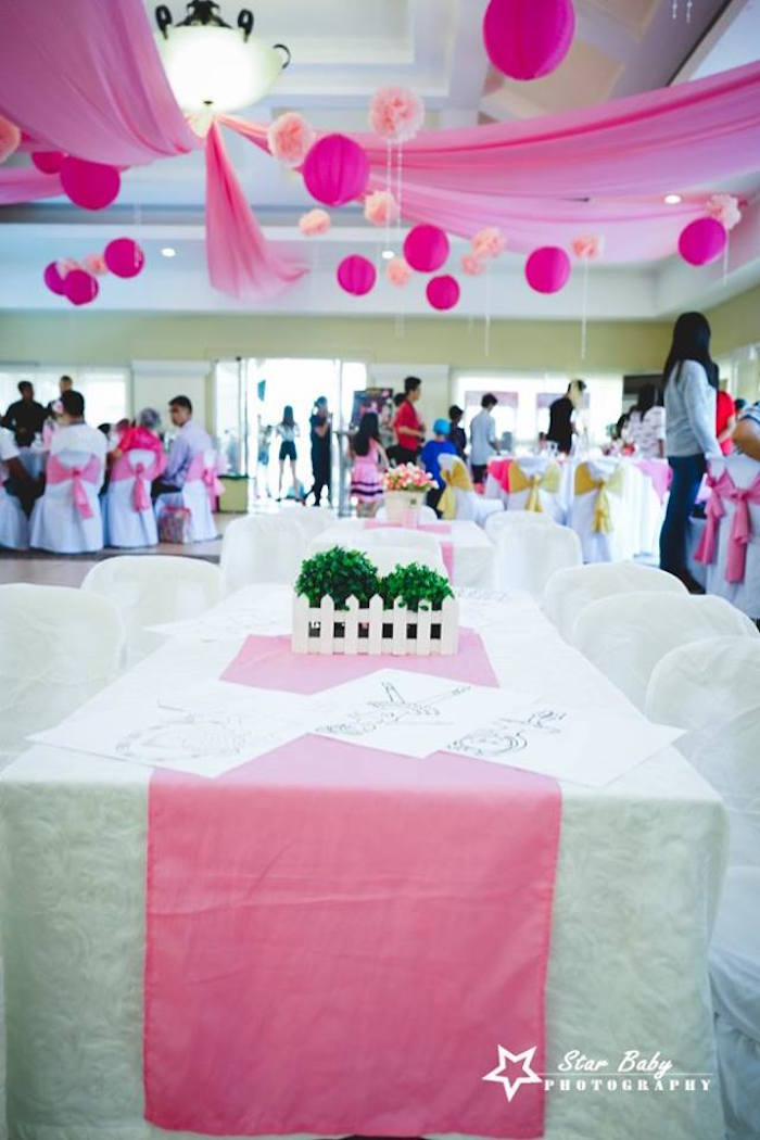 Party Table from a Pink and Gold Princess Party on Kara's Party Ideas | KarasPartyIdeas.com (9)