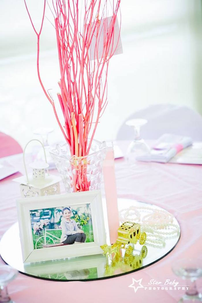 Table Centerpiece from a Pink and Gold Princess Party on Kara's Party Ideas | KarasPartyIdeas.com (8)
