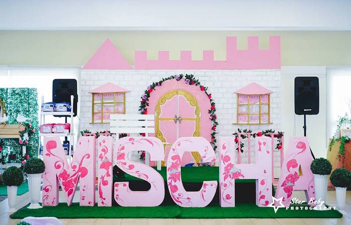 Royal Castle Backdrop from a Pink and Gold Princess Party on Kara's Party Ideas | KarasPartyIdeas.com (7)