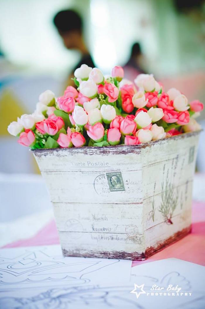 Vintage Blooms from a Pink and Gold Princess Party on Kara's Party Ideas | KarasPartyIdeas.com (6)