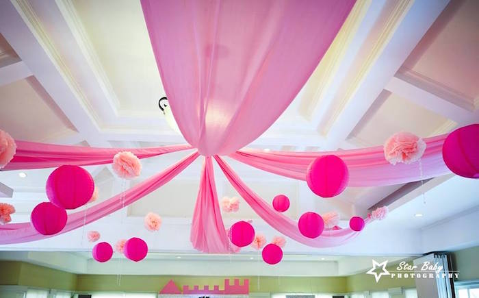 Pink Ceilingscape + Decor from a Pink and Gold Princess Party on Kara's Party Ideas | KarasPartyIdeas.com (5)