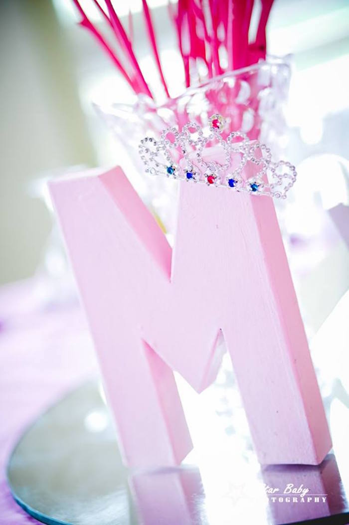 Crowned Block Letter from a Pink and Gold Princess Party on Kara's Party Ideas | KarasPartyIdeas.com (27)