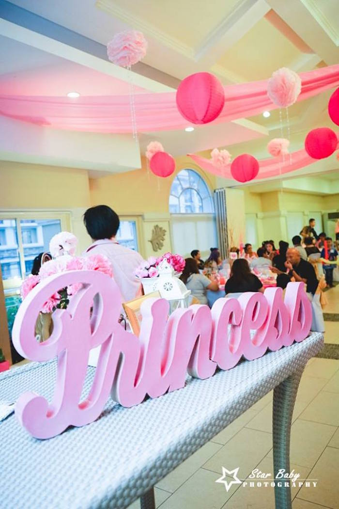 Princess Script Signage from a Pink and Gold Princess Party on Kara's Party Ideas | KarasPartyIdeas.com (26)