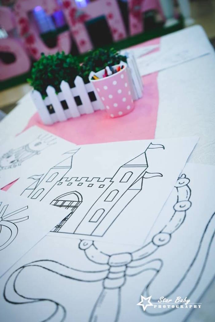 Coloring Pages + Table from a Pink and Gold Princess Party on Kara's Party Ideas | KarasPartyIdeas.com (22)