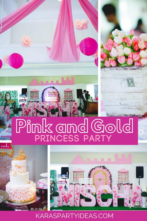 Pink and Gold Princess Party via KarasPartyIdeas - KarasPartyIdeas.com