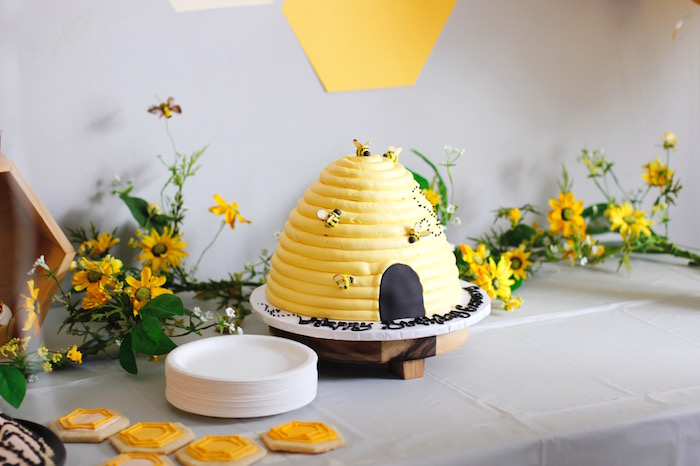 Beehive Cake from a Queen Bee Birthday Party on Kara's Party Ideas | KarasPartyIdeas.com (12)