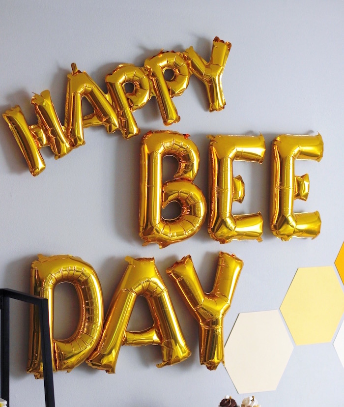 "Happy ""Bee"" Day Balloon Banner from a Queen Bee Birthday Party on Kara's Party Ideas 